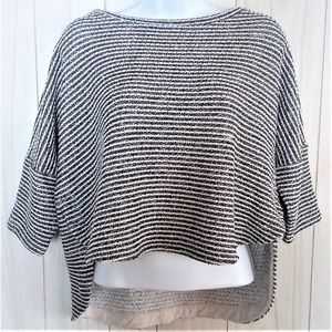 Anthro Deletta Striped High Low Top Back Cut Out S